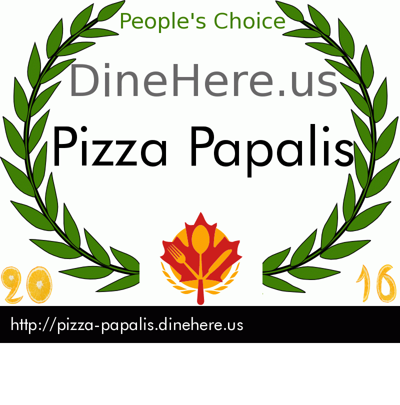 Pizza Papalis DineHere.us 2016 Award Winner